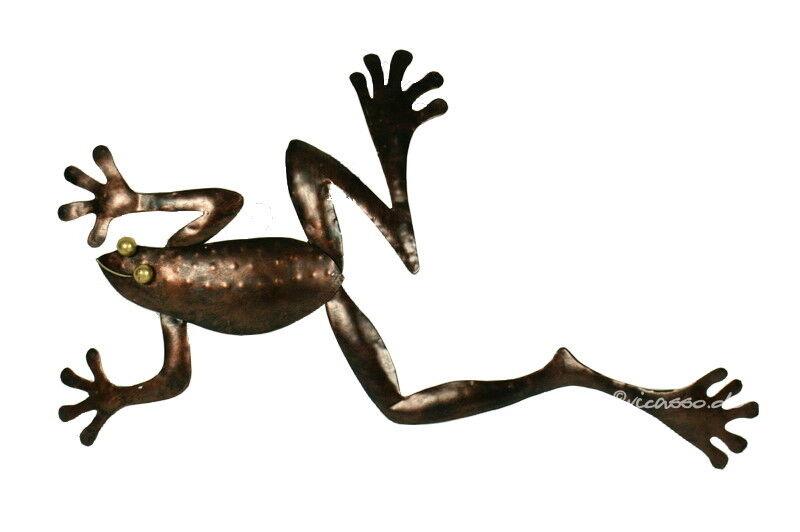 Metall Skulptur Frosch Kröte für die Wand 50cm kupfer Handarbeit Bali Indonesien
