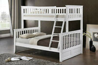Hardwood Single over Double-Duncan - White- by BunkBedsCanada