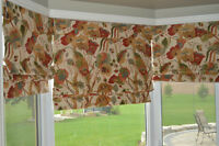 Custom made designer linen roman shades.