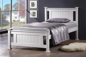 WHITE Timber King Single Kids Children Bed Frame Timber Slats - *CLEARANCE*