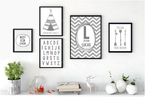 Mono GREY & White Nursery Prints Playroom Bedroom Chevron Dream Big Tribal A4