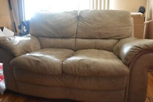 leather beige love seat couch