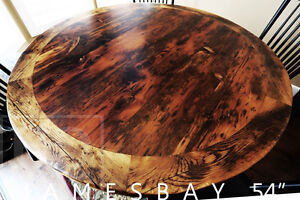 Reclaimed Ontario Barnwood Round Tables [Distressing Maintained]