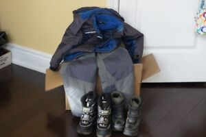 Big box of boys winter clothes size 4 & 5-snow suit and boots