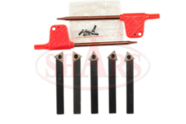 """SHARS 1/4"""" 5PC INDEXABLE CARBIDE INSERT TURNING TOOL BIT SET NEW"""