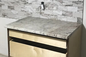 GRANITE COUNTER AND STAINLESS STEEL SINK- NEW