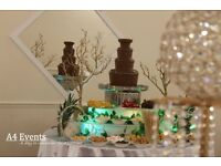 Chocolate Fountain/chair covers/wedding stage/decorations/centre piece/walkway pillars/candy floss