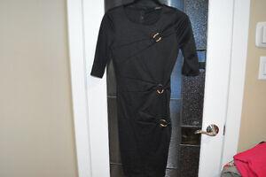 Venus Black Dress with Gold Hardware Detail