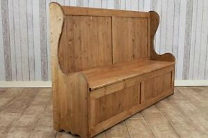 rustic pine hall bench settle with storage high back handmade in great britain ebay. Black Bedroom Furniture Sets. Home Design Ideas