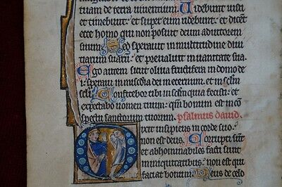 MINIATUR PSALTER PERGAMENT GOLD INITIALEN FRANKREICH METZ 1300 AD #B835S