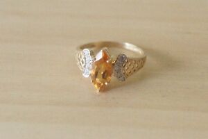 10k yellow gold ring Gold ring with yellow Topaz