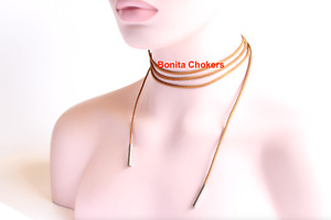 Brand New.  2 Ropes - White & Brown, Suede, Choker Fashion Silve