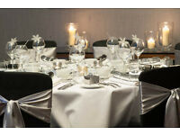Wedding Martini Centre vase Hire £9 Gold Candelabra Hire £17 Black Chair Cover Hire 89p Glass Rental