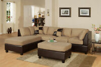 Microfiber Sectional with reversible chaise and ottoman.