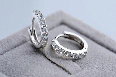 Silver Huggies Earrings (925 Sterling Silver Plated CZCubic Huggie Hoop Small Earrings Men Women E21 )