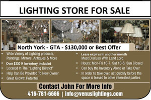 LIGHTING STORE FOR SALE