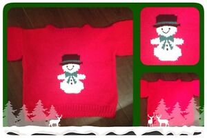 Snowman knitted sweater for kids (5/6)