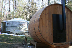 Romantic Yurt for 2 with Wood Barrel Sauna, 30 from Ottawa, Ont.