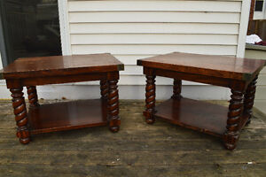 two real wood coffee end tables