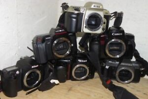 Misc. vintage cameras, lenses, flashes, light meters, filters, +