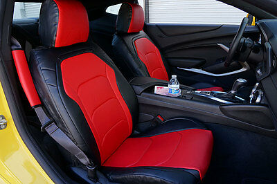 CHEVY CAMARO 2016- BLACK/RED LEATHER-LIKE CUSTOM FIT FRONT SEAT COVER Blk Leather Like Cover