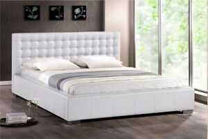 White Modern Queen size Faux Leather Bed Frame & Mattress