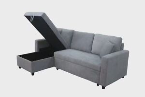 High Density Foam Fabric Corner Sofa Bed with Storage Chaise Melbourne CBD Melbourne City Preview