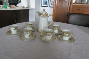 Nippon Cocoa Pot & 6 Matching Cups and Saucers