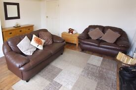 3 seater and 2 seater leather sofas, chocolate brown leather VGC