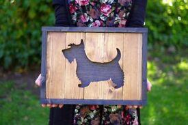 Wall picture hangning, wooden wall art, Scottish wedding gift, West highland terrier, Scottie dog