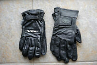 Motorcycle Gloves (2 Pair), Black Leather