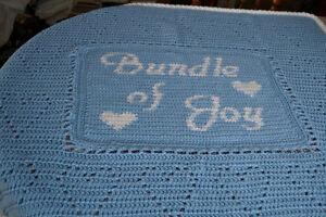 "Crochet Baby Blanket Personalized Baby Blanket ""Bundle of Joy"""