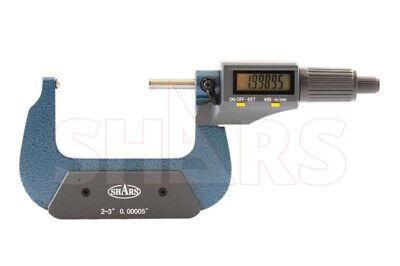 Shars 2-3 Digital Digit Micrometer .001mm .00005 Flat Spindle New