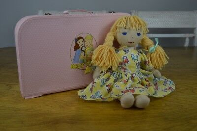 Best Pals Rag Doll Pink Suitcase Carrying Case Yellow Dress Bunny Rabbits (Best Pals Rag Dolls)