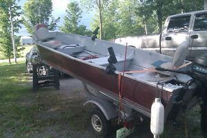 14ft. alum boat, motor, trailer