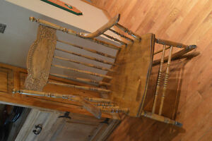 Antique Press Back Wood Rocker