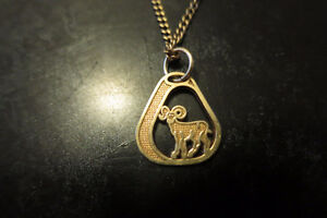 10K Gold Aries Zodiac Necklace 22inches