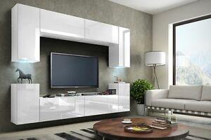 Wohnwand Hängend Tv Wand Fernseherschrank Weiß Hochglanz Hängwand Wohnzimmer