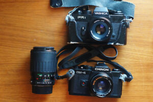 Vintage lense and camera (Auto Chinon, Vinvitar, Yashica)