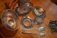 Sterling Silver Plated Serving Trays and Serving Spoons