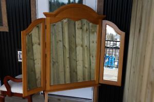 3 Panels Oak Mirror