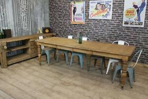 SOLID OAK VICTORIAN STYLE LARGE EXTENDING FARMHOUSE DINING KITCHEN TABLE