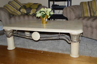 Cream and bronze stone coffee table and 2 end tables