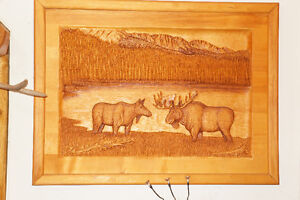 "COMMISSIONED PIECE ""MOOSE SERENITY"" WOOD CARVING"
