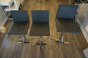 3 grey leather breakfast chairs