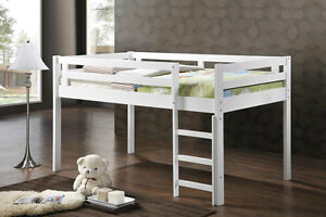 Low Loft Bed - Hardwood - White- NEW -by Bunk Beds Canada