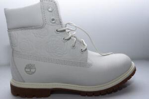 NEW TIMBERLAND WOMENS 9US WHITE ROSE BOOTS 6IN PREMIUM REG $190
