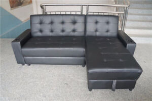 UNUSED 3-IN-1 BLACK LEATHER OTTOMAN CHAISE SOFA BED