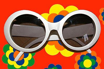 A501✪ 60er 70er Jahre Hornbrille Style Sonnenbrille Hippie Twiggy Look weiss ()