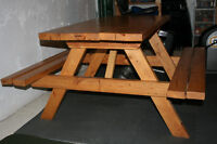 Solid Wood Varnished Hand Made Picnic Table  3/4 size Sturdy